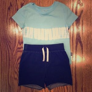 NWT Splendid blue tie dye shirt and shorts set